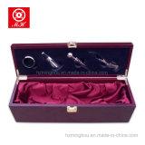 Caixa de presente de madeira do frasco de vinho vermelho da única trava com ferramentas