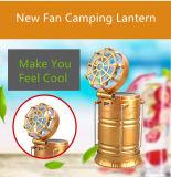 Lanterna de acampamento solar com ventilador