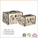 2-PC steuern Möbel-hölzernen antiken Koffer-Ablagekasten-Geschenk-Kasten mit dem gedruckten Gewebe automatisch an