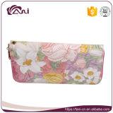 Флористические бумажники женщин застежки -молнии с гнездами для платы, напечатанным бумажником для маленьких девочек