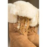 Шикарной Lace-up разленные конструкцией ботинки овчины шерстей высокорослые