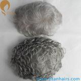 Toupee indiano do cabelo do cabelo 80%Grey20%White de Remy para homens idosos