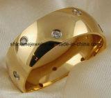 De Manier van de Juwelen van Shineme en de Goud Geplateerde Ring Van uitstekende kwaliteit van de Vinger van het Titanium (TR1842)