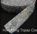 la larghezza di 3cm della maglia dei 100 Applique di cristallo di cerimonia nuziale ab della yarda Rhinestones di colore del rullo del testo fisso della fascia Chain di cristallo di Strass veste i mestieri (TS-037)