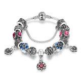 Bohemia Love Snake Chain Pink Flower, Clear CZ Braceletes e Bangles