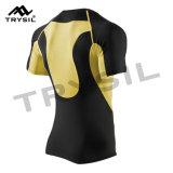 堅の圧縮のTシャツの人のための高い伸縮性がある短袖の適性