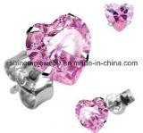 De roze Oorringen van de Juwelen van de Manier van het Roestvrij staal van het Inlegsel Zircon