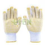 2017 points de tricotage de vente chauds de PVC de gants de coton, qualité et bon marché, fabrication en Chine