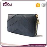 Длинний черный бумажник застежки -молнии для повелительницы, цены изготовленный на заказ кожаный бумажника Fani дешевого