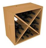 Estante de encargo del cubo del vino del almacenaje de la visualización de madera de pino de la talla 24-Bottle