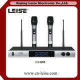 Microphone sans fil de radio du système fréquence ultra-haute de Microphoen des canaux Ls-802 doubles