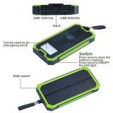 Блок батарей портативное 15000mAh солнечного заряжателя внешний удваивает заряжатель телефона крена силы заряжателя солнечной батареи USB с с светами Carabiner непредвиденный СИД
