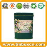 Contenedor de té rectangular de metal con grado alimenticio