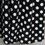 Cotton Floor Length Black White Polka DOT Retro Vintage Skirt