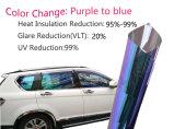 Transparente a la alta ventana de coche del IR del camaleón púrpura que teñe la película