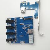 Минирование PCI-E к шлицу 4 Pcie Splitter карточки расширения переходники 1X To4X 4ports PCI-E 1X Pcie