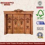 Декоративная высекая двойная деревянная конструкция главной двери (GSP1-025)
