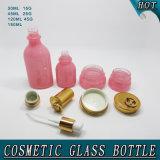 Botella de la loción de la botella de cristal del color de rosa cosmético de los fabricantes y tarro elípticos de la crema