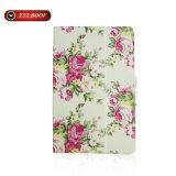 Caisse de tablette de cuir de flore d'impression de couverture de chiquenaude de stand pour l'iPad