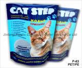 Pet/PE는 눈물 노치를 가진 고양이 배설용상자 주머니를 위로 서 있다