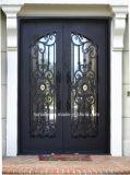 Portello di entrata splendido del ferro saldato di disegno con vetro operabile