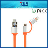 Cable del USB del cable de 2 del teléfono In1 datos del cable para iPhone7