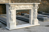 백색 Carrara 손에 의하여 새겨지는  대리석 벽난로 벽로선반 Sy-Mf322
