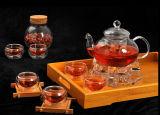 Potenciômetro de vidro do vidro do Kitchenware do dispositivo dos produtos vidreiros de vidro do jogo de chá