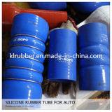 Flexibles blaues Silikon-gerader Buckel-Schlauch mit 3 Stahlringen