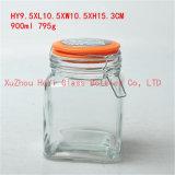 recipiente de vidro quadrado pequeno do frasco de vidro quadrado do armazenamento 450ml para o alimento com tampa do selo
