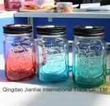Glasware-Maurer-Glas mit Griff-und Schrauben-Kappe für Speicherung und Flüssigkeit
