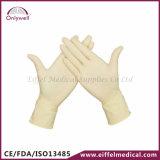 Медицинские устранимые напудренные перчатки рассмотрения латекса