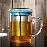 taza de té de cristal de la oficina 450ml con la taza de cristal de la oficina del regalo colorido del filtro con la tapa