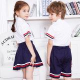 Modèle d'uniformes scolaires de polyester du coton 35% de 65% avec des illustrations