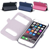 Tirón Window Wallet Leather Caja Cover para Apple iPhone6/6 Plus