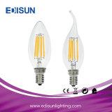 Luz vendedora caliente de la vela del filamento LED de 6W 6PCS