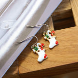 Brincos de gota brancos bonitos da meia do Natal do esmalte dos presentes do Natal