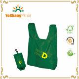 Groene Materiële Dragende Zak met de Witte Zak van de Vouwen van de Zak van Eco van het Af:drukken van het Embleem Nylon met Knoop