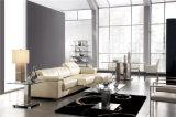 Sofá de couro preto da forma com canto