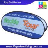 カスタム楕円形ファブリックの工場によってはイベントまたは展覧会のための旗が現れる