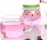 Entwurfs-Glastee-Cup-Set der Form-350ml mit keramischem Filter-/Schutzkappen-Glastee-Becher-Set mit Glasgriff/Glaswasser-Trommel