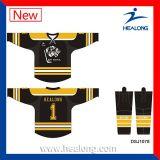 Usure de hockey sur glace de chaussettes d'hockey des Etats-Unis de sublimation de teinture de polyester de Healong pleine