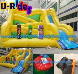 子供のためのおかしく黄色く膨脹可能なスライド