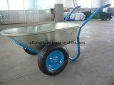 Carrinho de mão de roda elevado da construção da capacidade de carga da roda dobro para construtores