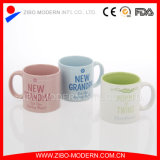 18oz Colorido Straight Body Ceramic Mug com design familiar