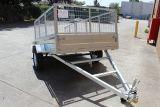 Hotdip Gegalvaniseerde Aanhangwagen van de Doos van de Kipper van de Tuin 7X4 met de Kooi van het Netwerk