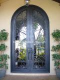 Puertas de entrada delanteras de lujo del hierro con la ventana para la casa