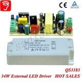 электропитание 34W Hpf Singel изолированное напряжением тока внешнее СИД с Ce TUV QS1183