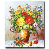 100% décoration artisanale fleur peinture à l'huile sur toile, fleur de vie tranquille
