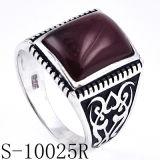 925 anelli d'argento degli uomini con l'agata naturale